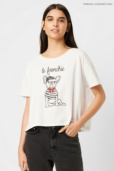 French Connection Le Frenchie T-Shirt, Weiß