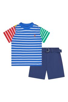 Ralph Lauren Kids Baby Boys Blue Cotton Set