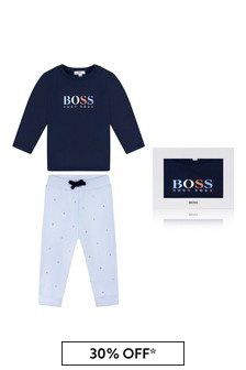 Baby Navy/Blue Cotton Trousers Gift Set