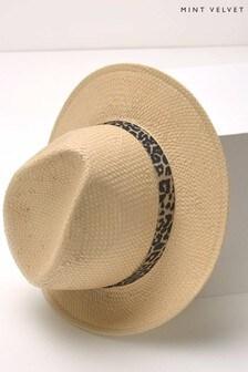 Mint Velvet Panama Leopard Detail Hat