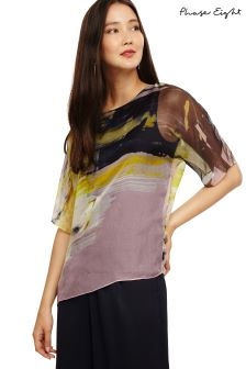Phase Eight Yellow Multi Uma Abstract Print Silk Blouse