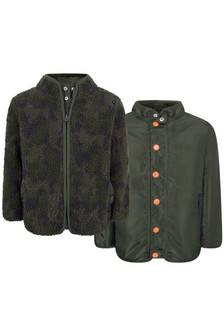 Boys Khaki Rip Stop & Teddy Reversible Jacket