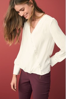 Long Sleeve Button Through Wrap Blouse