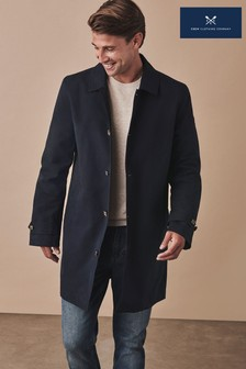 Crew Clothing Blue Waxed Car Coat