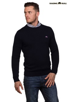 Raging Bull Blue Crew Neck Cotton Cashmere Knit Jumper