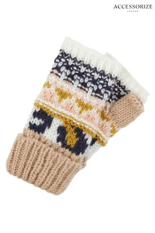 Accessorize Leopard Mixed Fairisle Pattern Cut Off Gloves