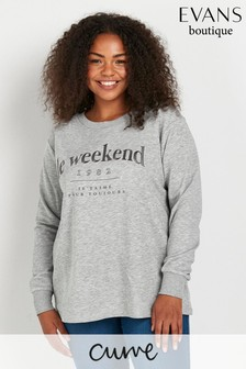 Evans Curve Grey Le Weekend Sweat Top