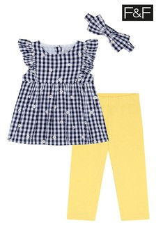 F&F Navy Gingham Top And Legging Set
