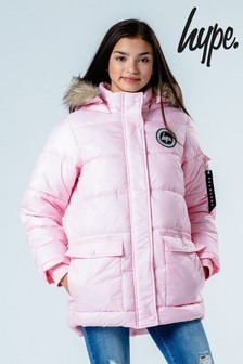 Hype. Pink Explorer Jacket With Faux Fur Hood