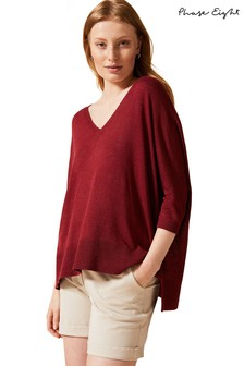 Phase Eight Red Larna Linen Asymmetric Knit Jumper