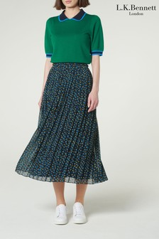 L.K.Bennett Blue Avery Pleated Skirt