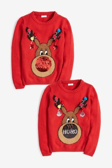 Sequin Nose Rudolph Christmas Jumper (3-16yrs)