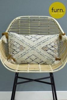Furn Yellow Atlas Tassel Cushion