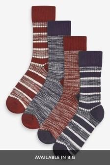 Ribbed Stripe Socks Four Pack