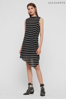 AllSaints Black Stripe Duma Gathered Dress