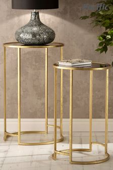 Pacific Antique Gold Metal And Black Glass Set Of 2 Round Tables