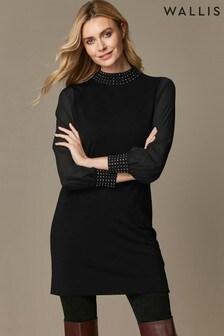Wallis Black Chiffon Sleeve Embellished Neck Dress