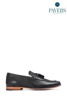 Pavers Black Leather Men's Tassel Loafers