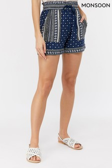 Monsoon Ladies Blue Tara Print Short