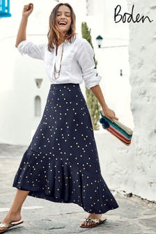 Boden Blue Fluted Hem Jersey Skirt