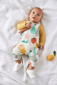Organic Cotton Fruit Dungarees/Bodysuit Set (0mths-3yrs)