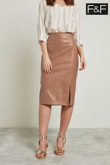 F&F Neutral Faux Leather Croc Pencil Skirt
