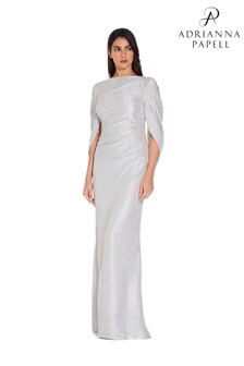 Adrianna Papell White Metallic Knit Long Dress