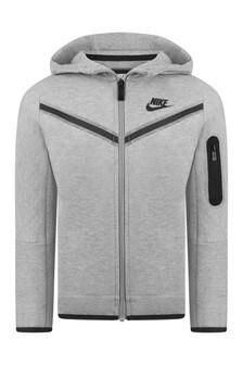 Boys Grey Tech Fleece Hooded Zip Up