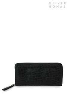 Oliver Bonas Black Cemery Croc Purse