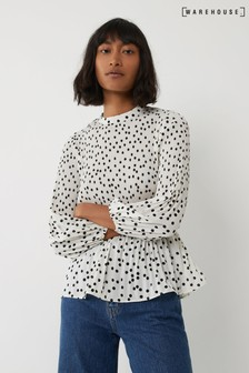Warehouse Cream Spot Micropleat Top