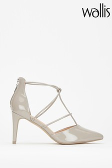 Wallis Clayton Grey Open Strappy Pointed Courts