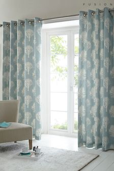 Fusion Woodland Trees Jacquard Lined Eyelet Curtains