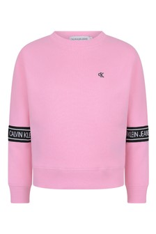 Calvin Klein Jeans Girls Pink Organic Cotton Logo Tape Sweater