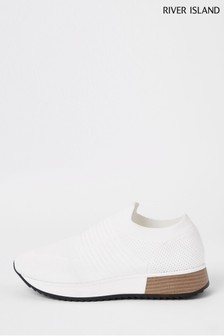 River Island White Rogan Knitted Runner Trainers
