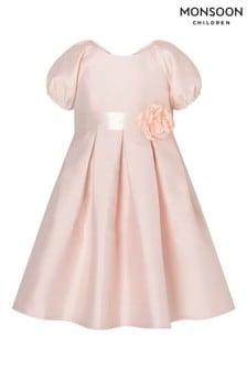 Monsoon Baby Corsage Belt Duchess Twill Dress