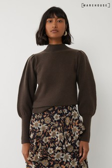 Warehouse Green Puff Sleeve Stitch Jumper