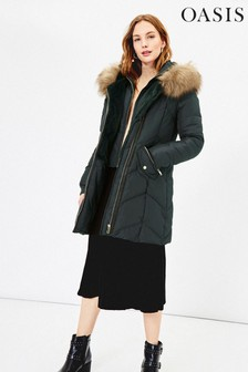 Oasis Green Albany Long Padded Coat