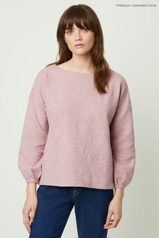 French Connection Pink Sicily Texture Jersey Sweat Top