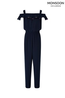 Monsoon Children Navy Rita Ruffle Jumpsuit
