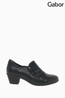 Gabor Sherbert Black Leather High Cut Court Shoes