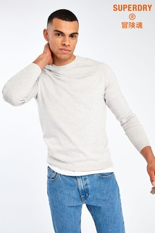 Superdry Silver Cotton Knit Crew Jumper