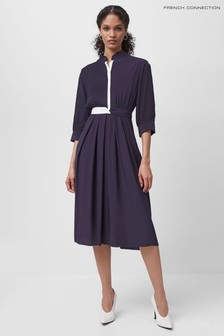 French Connection Blue Aiden Drape Contrast Shirt Dress