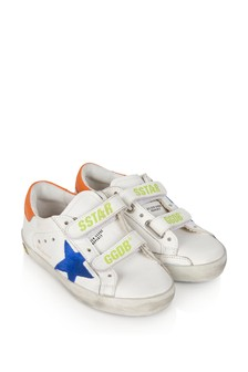 Kids White Leather & Blue Suede Star Old School Trainers