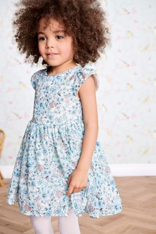 Ditsy Short Sleeve Party Dress (3mths-6yrs)