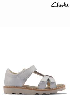 Clarks White Leather Crown Flower T Sandals