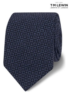 T.M. Lewin Barberis Navy Geometric Wool Slim Tie