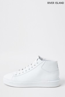 River Island White Mid Top Wedge Trainers