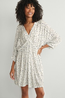 V-Neck Kimono Sleeve Dress