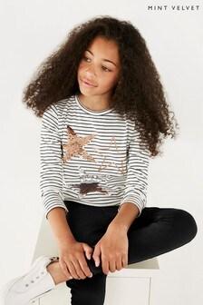 Mintie by Mint Velvet Stripe Glitter Three Star T-Shirt