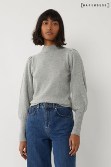 Warehouse Grey Puff Sleeve Stitch Jumper